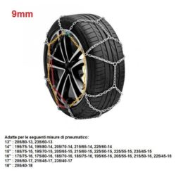"Catene da neve per auto ""grip tech"" 9 mm. gr. 9"