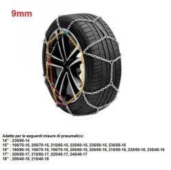"Catene da neve per auto ""grip tech"" 9 mm. gr. 9.5"